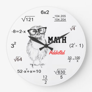 Maths addicted nerdy owl wallclocks