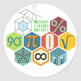 maths classic round sticker