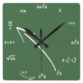 Maths Mathematical Equations Square Wall Clock