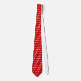 Maths quadratic equation in white on bright red tie