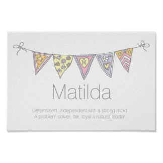 Matilda girls name and meaning bunting poster