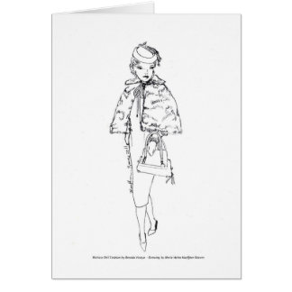 Matisse Doll Fashion Watercolor- Black Fur Cape Card
