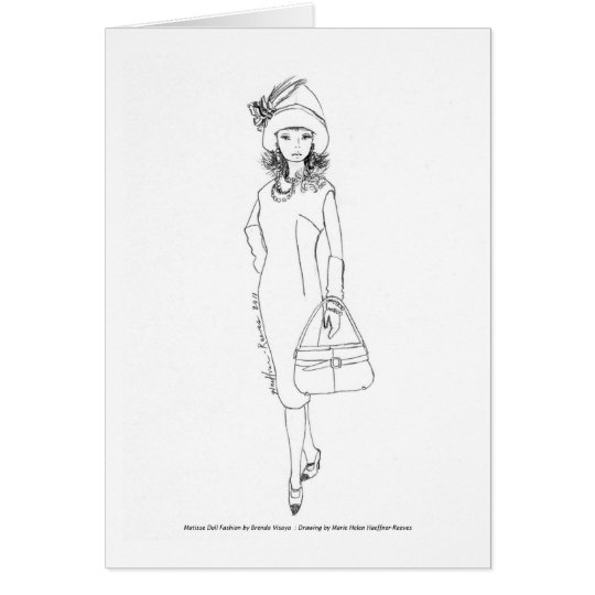 Matisse Doll Fashion Watercolor- Red/Blk CapeDress Card