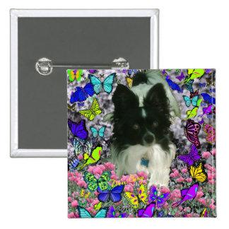 Matisse in Butterflies II - White Black Papillon Pinback Button