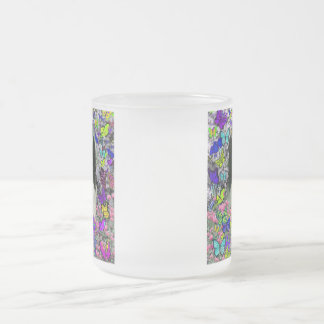 Matisse in Butterflies II - White & Black Papillon Frosted Glass Coffee Mug