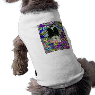 Matisse in Butterflies II - White & Black Papillon Sleeveless Dog Shirt