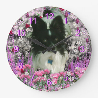 Matisse in Flowers - White and Black Papillon Wall Clock