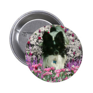Matisse in Flowers - White Black Papillon Dog Buttons