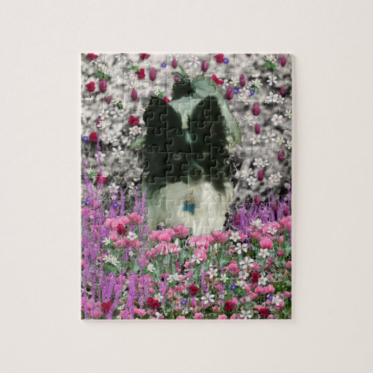 Matisse in Flowers - White & Black Papillon Dog Jigsaw Puzzle