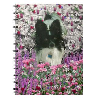 Matisse in Flowers - White & Black Papillon Dog Notebook