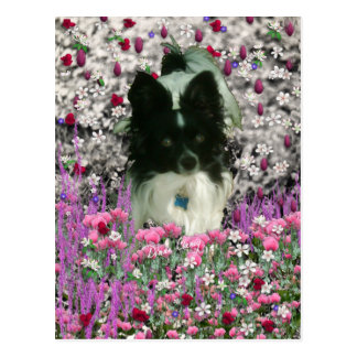Matisse in Flowers - White & Black Papillon Dog Postcard