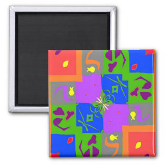 Matisse Style Shapes Square Magnet
