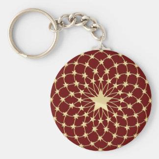 Matrix of golden stars expanding circles basic round button key ring