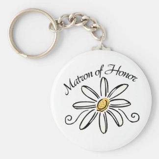 Matron of Honor Basic Round Button Key Ring