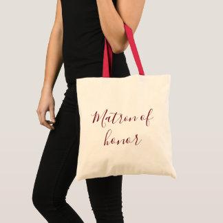 Matron of Honor Burgundy calligraphy Tote Bag