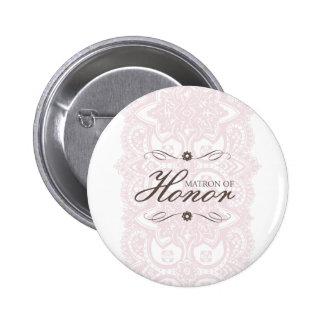Matron of Honor Button-Vintage Bloom 6 Cm Round Badge