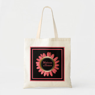 Matron of Honor Daisy Coral Pink | Wedding Party Tote Bag