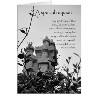 Matron of Honor Fairy Tale Castle Request Card