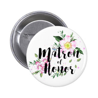 Matron of honor Floral Watercolor Wedding 6 Cm Round Badge