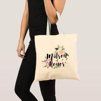 Matron of honor Floral Watercolor Wedding Tote Bag