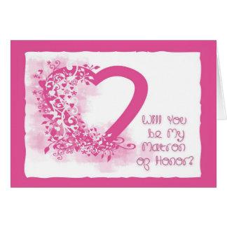 Matron of Honor Invitation Pink Heart