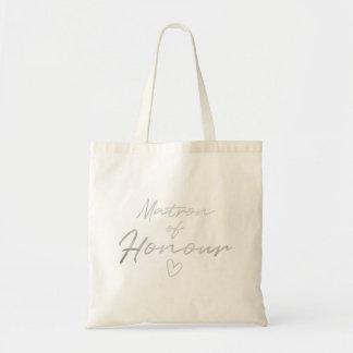 Matron of Honor - Silver faux foil tote bag