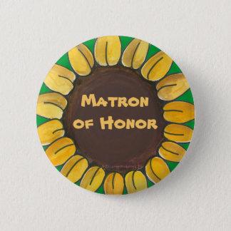 Matron of Honor Sunflower Button