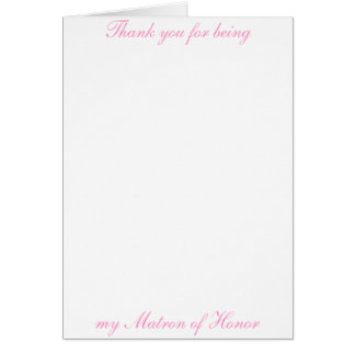 Matron of Honor Thank you Card