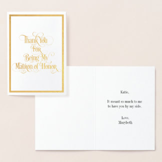 Matron Of Honor Thank You Gold Foil Card