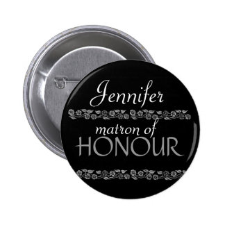 Matron of Honour Black White Silver Wedding Pin