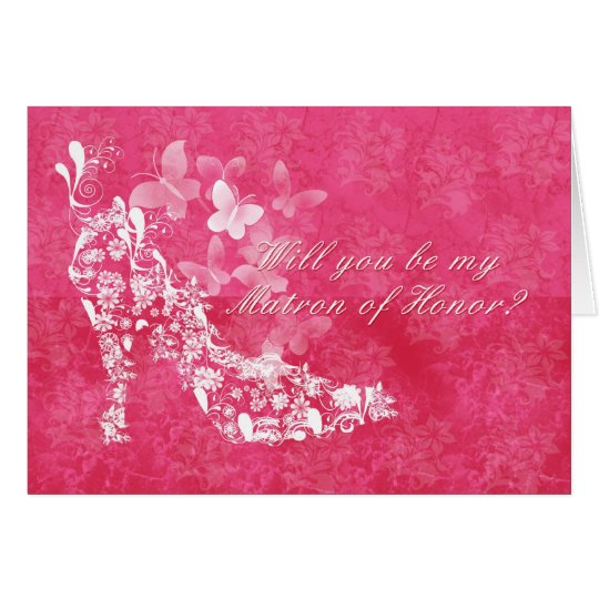 Matron of Honour Bridal request card with flower