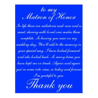 Matron of Honour Thank you Postcard