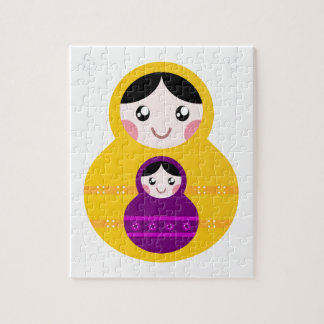 Matroshka yellow purple on white jigsaw puzzle