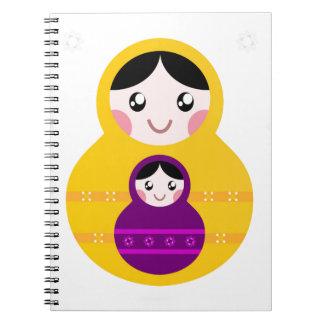 Matroshka yellow purple on white spiral notebook