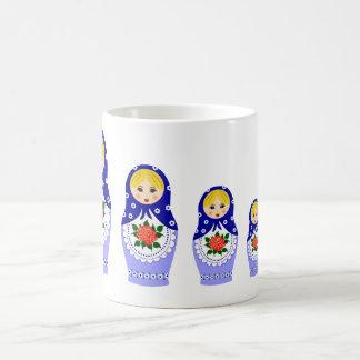 Matryoschka dolls blue basic white mug