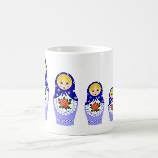 Matryoschka dolls blue coffee mug