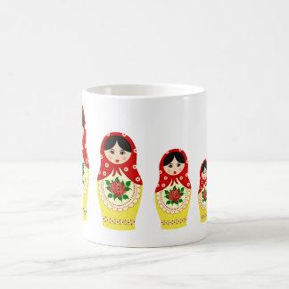 Matryoschka dolls red basic white mug