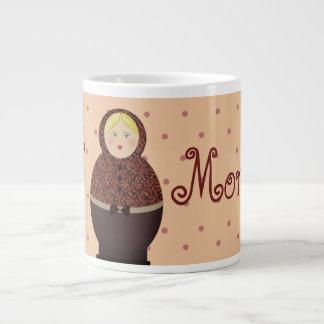 Matryoshka Cute Good Morning Polka Dots Pink Pale Large Coffee Mug