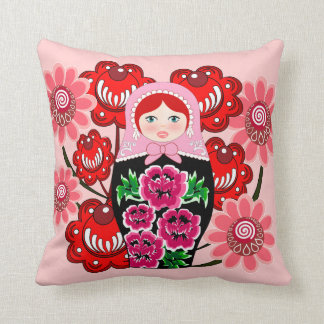 matryoshka doll and Russian Folk Art Khokhloma Cushion