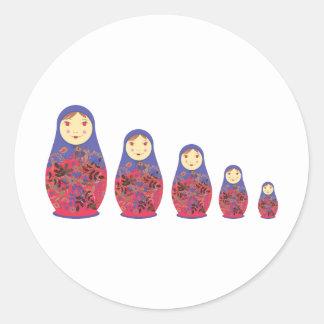 Matryoshka Doll ~ Russian Nesting / Babushka Round Sticker