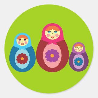 Matryoshka Dolls Round Sticker
