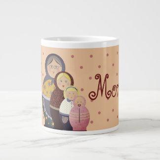 Matryoshka Family Cartoon Good Morning Polka Dots Large Coffee Mug