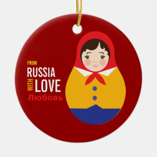 Matryoshka From Russia With Love Adoption Keepsake Ceramic Ornament