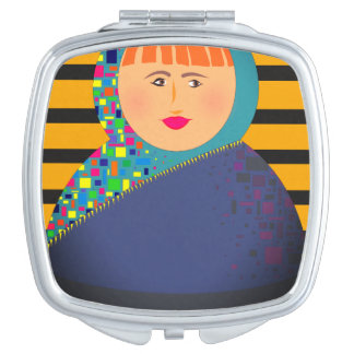 Matryoshka Modern Bold Cartoon Girl Bright Stripes Compact Mirrors