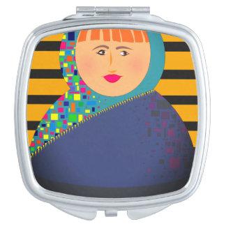 Matryoshka Modern Cartoon Vibrant Hipster Unique Compact Mirrors