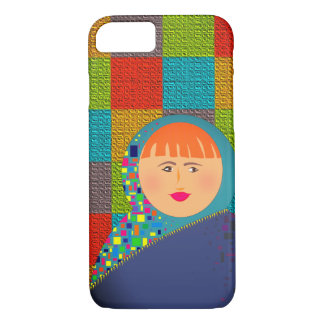 Matryoshka Russian Doll Hipster Checkered Colorful iPhone 8/7 Case