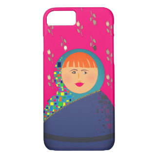 Matryoshka Russian Doll Pink Floral Hipster Modern iPhone 8/7 Case