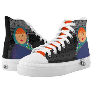 Matryoshka Russian Doll Rusted Black Hipster Cool High Tops