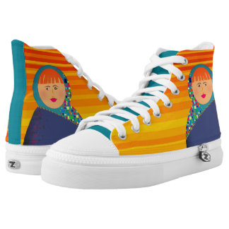 Matryoshka Russian Doll Yellow Stripes Hipster High Tops