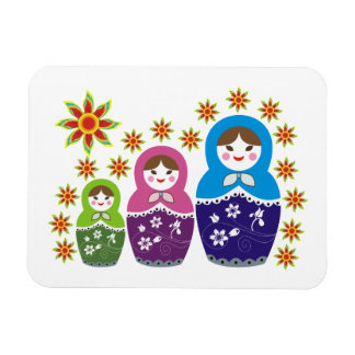 Matryoshka Russian dolls & sunflowers custom Rectangular Photo Magnet